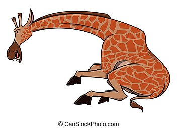 gekke , giraffe, spotprent, illustratie