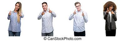 gekke , goed, wijzende, zakelijk, face., mannen, vingers, vibes., fototoestel, team, vrouwen, energie, vrolijke