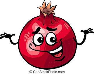 gekke , granaatappel, fruit, spotprent, illustratie
