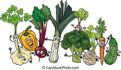 gekke , groentes, groep, spotprent, illustratie