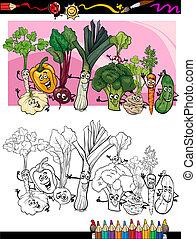 gekke , groentes, kleurend boek, spotprent