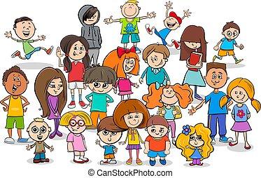 gekke , groep, kinderen, karakters, spotprent