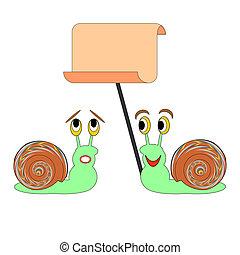 gekke , groot, twee, papier, leeg, snails, spotprent