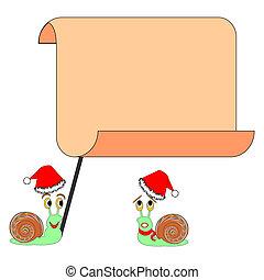 gekke , groot, twee, spotprent, papier, leeg, snails, kerstmis