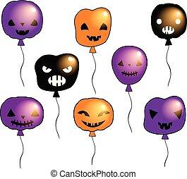 gekke , halloween, vector, set, met, spooky, ballons, met, gezichten, met, anders, uitdrukkingen