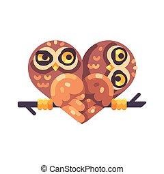 gekke , hart, twee, uilen, vorm, tak