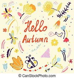 gekke , herfst, ontwerp, floral, vogels, kaart