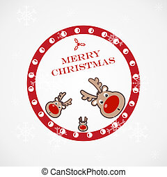 gekke , hertje, kerstmis, illustratie