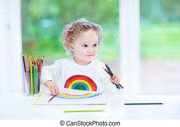 gekke , het glimlachen meisje, regenboog, zetten, bureau, witte , toddler, tekening