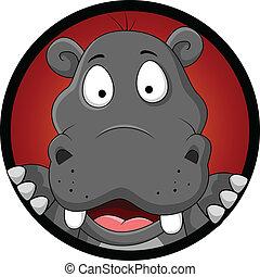 gekke , hoofd, spotprent, nijlpaard