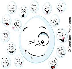 gekke , -, illustratie, gezicht, vector, wit ei, spotprent