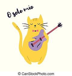 gekke , illustratie, kat, gitaar, vector, spelend