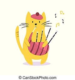gekke , illustratie, kat, vector, bagpipe., spelend