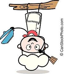 gekke , illustratie, kok, vector, voordeel, hangend, spotprent, dons