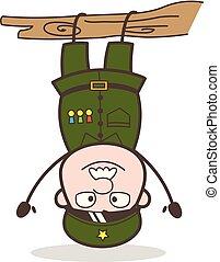 gekke , illustratie, omgekeerd, vector, sergeant, hangend, spotprent
