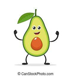 gekke , illustration., avocado., concept., karakter, plat, spotprent, fruit, vector, icon., glimlachen gelukkig