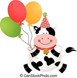 gekke , jarig, koe, met, ballons