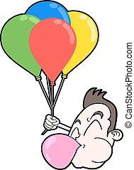 gekke , jongen, gezicht, met, kleur, ballons