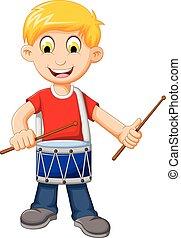 gekke , jongen, trommel, spelend, spotprent