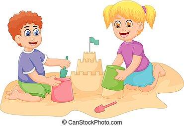 gekke , jongetje, spotprent, zand, meisje, spelend