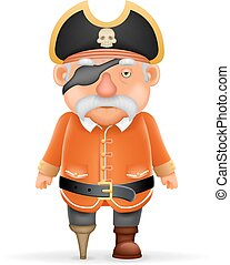 gekke , kapitein, oud, wijzende, karakter, op, illustratie, vrijstaand, realistisch, vector, ontwerp, duimen, zeerover, grootvader, spotprent, 3d