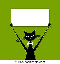 gekke , kat, met, visitekaartje, plek, voor, jouw, tekst