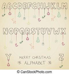 gekke , kerstmis, alfabet