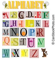 gekke , kinderen, alfabet