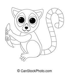 gekke , kleuren, zittende , lemur, illustratie, animals., afrikaan, banana., geometrisch, style., spotprent
