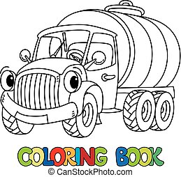 gekke , kleurend boek, vrachtwagen, kleine, eyes., melk