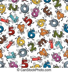 gekke , kleurrijke, spotprent, getallen, seamless, model