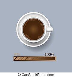 gekke , koffie, concept, bar, kop, inlading, awakeness-related, voortgang, productiviteit