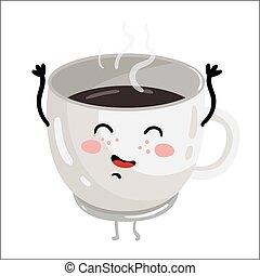 gekke , koffiekop, karakter, vrijstaand, spotprent