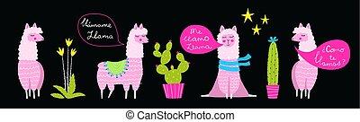gekke , lamas, plat, set, illustraties, cactussen