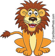 gekke , leeuw, spotprent, zittende