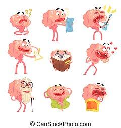 gekke , leven, set, karakter, armen, emoties, scènes, hersenen, illustraties, benen, humanized, spotprent