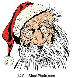 gekke , liggen, illustration., santa.