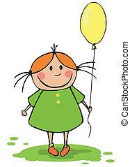 gekke , meisje, balloon