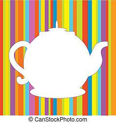 gekke , menu, pot, heldere kleuren, achtergrond, thee