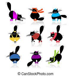gekke , mode, dik, silhouettes, poezen, black , ontwerp, jouw, kleren