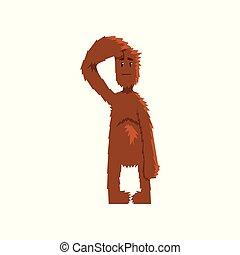 gekke , mythisch, vooruit, karakter, illustratie, bigfoot,...