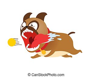 gekke , na, illustration., schattig, tennis, dog, rennende , vector, puppy, spotprent, ball.
