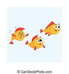 gekke , ondiepte, somewhere, visje, drie, gele, karakters, speeding, gouden