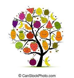 gekke , ontwerp, boompje, jouw, vruchten
