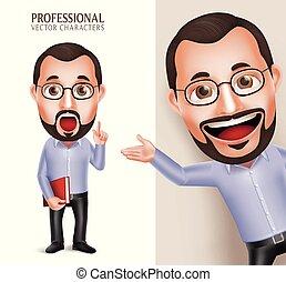 gekke , oud, professor, karakter, realistisch, vector, professioneel, 3d, leraar, man