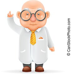 gekke , oud, wijzende, karakter, vrijstaand, illustratie, op, wetenschapper, realistisch, vector, ontwerp, duimen, wijs, grootvader, spotprent, 3d