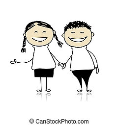 gekke , paar, lach, -, jongen en meisje, samen, illustratie,...