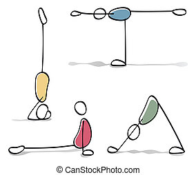 gekke , personen, beoefenen, yoga