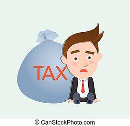 gekke , plat, karakter, zware, belasting, handel concept