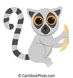 gekke , plat, lemur, zittende , illustratie, animals., afrikaan, banana., geometrisch, style., spotprent